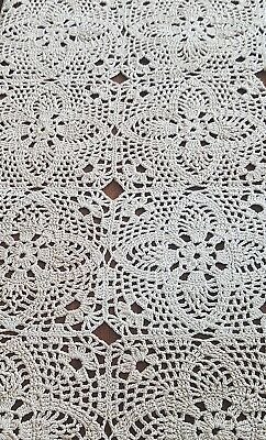 Vintage Handmade Crochet Lace Tablecloth, No Damage, Classic Elegance!