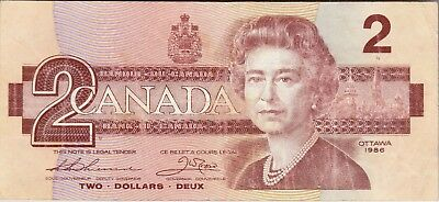 Canada.Canadian Currency, Paper Money Bank Note Two 2 Dollars 1986
