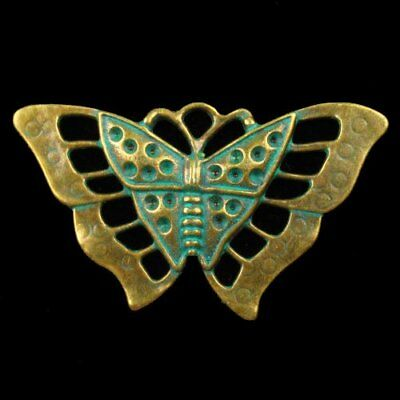 Y40690 Carved Brass Bronze Butterfly Pendant Bead 57x35x4mm