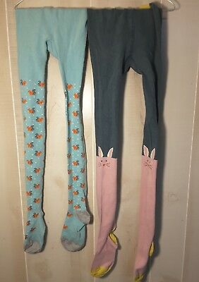 Mini Boden Footed Tights 9-10 Years, lot of 2, blue squirrels, pink grey bunny