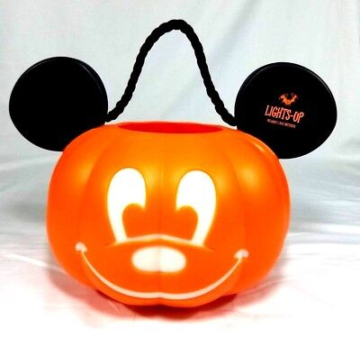 Disney Parks Mickey Mouse Pumpkin Halloween Light Up Trick or Treat Bucket NEW