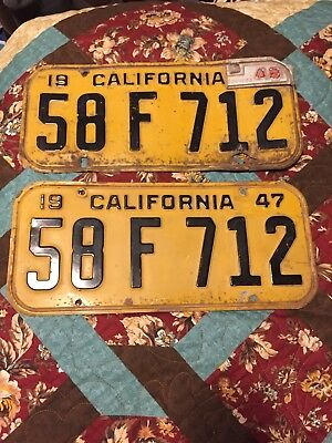 1947 Yellow California License Plate Pair With '48 Tab