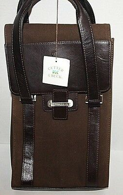 Cutter & Buck®American Classic Wine Valet Leather 2-Bottle Wine Bag Mahogany NWT