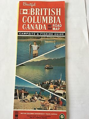 1967 BRITISH COLUMBIA Road MAP Campsite Fishing Guide Canada