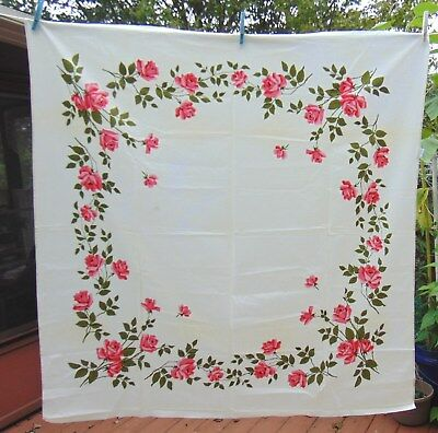 Vintage 1950's Wilendur Tablecloth Pink Roses Cotton Print 52 X 50 Original Tag