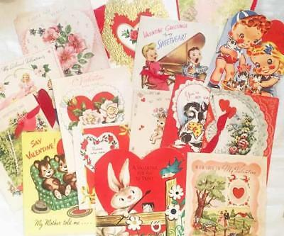 lot of 72 vintage VALENTINE cards - 1950-70's - used CRAFTS!!