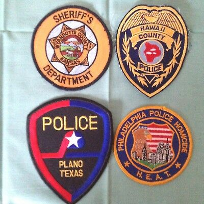 4- Law Enforement Patches Police, Hawaii, Texas, Sheriff Kansas, Phil. Homicide