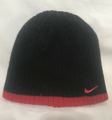 Nike Reversible Black Red Trim Winter Beanie Hat - Youth Sized