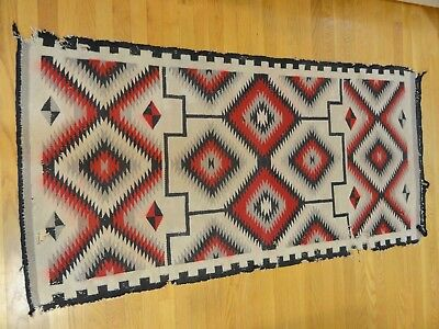 "Old Navajo Rug 68"" by 34""   Beautiful but Worn Condition, red, grey and black"