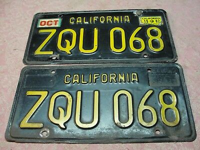 Vintage Pair of California Automobile License Plates Tags Last Registered 1982