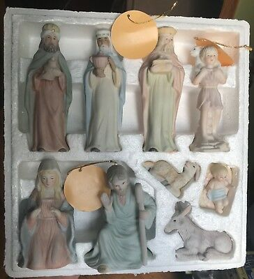 Lefton 1983 China Porcelain Christopher Collection Christmas Nativity 9pc