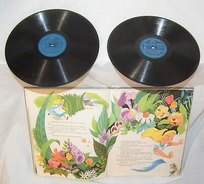 Rare Walt Disney Alice In Wonderland 78 Rpm Toy Phonograph Record Picture Book