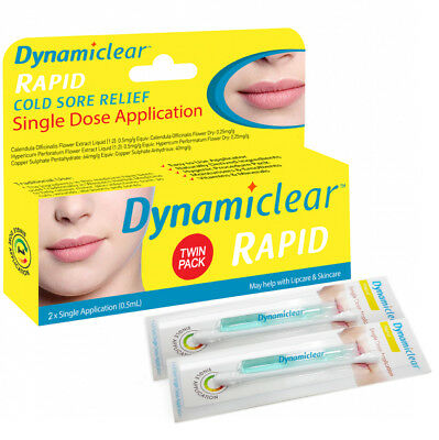 * Dynamiclear Rapid Single Dose Cold Sore Relief 0.5Ml Twin Pack