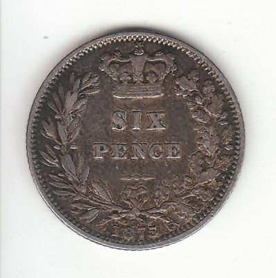 1875 Great Britain Queen Victoria Silver Sixpence.