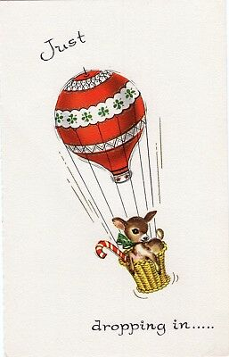 Reindeer Deer Hot Air Balloon FRONT ONLY Candy Cane VTG Christmas Greeting Card