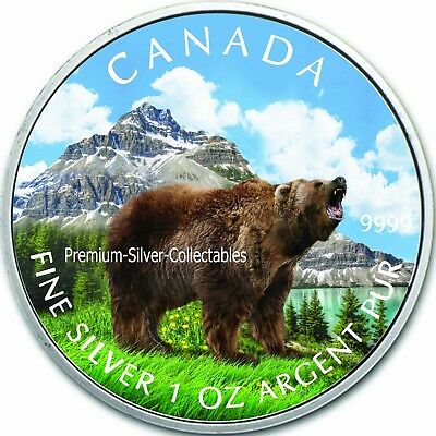2011 Canada Wildlife Series Grizzly Bear - 1 Ounce Pure Silver Coin 2 of 6!