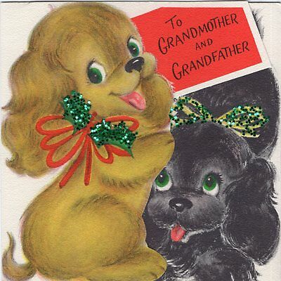 Happy Playful Puppy Dog Glitter Ribbon Bow Glitter VTG Christmas Greeting Card