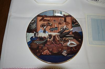 """1998 Bradford Exchange Purr-Fect Places Cat Plate """"mabel The Stowaway"""""""