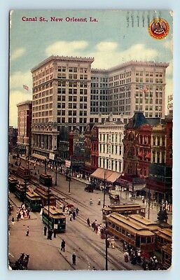 New Orleans, LA - CANAL STREET SCENE - TROLLY CARS - RARE c1911 KIRBY PC - A3