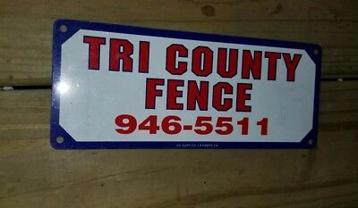 TRI COUNTY Fence Willoughby Ohio tin sign