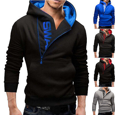 New Men's Winter Slim Hoodies Warm Hooded Sweatshirt Coat Jacket Outwear Sweater