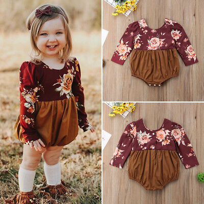 US Baby Girls Infant Flower Clothes Long Sleeve Autumn Romper Jumpsuit Outfits