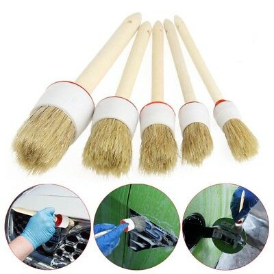 5x Wood Handle Soft Car Detailing Brushes for Cleaning Dash Trim Seats Wheels UK