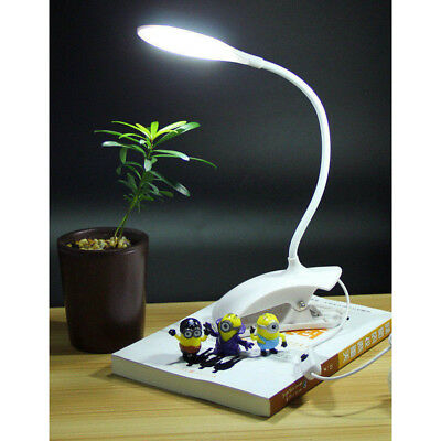 USB Bedside Clip-on Table Desk Lamp Warm White LED Flexible Piano Reading Light