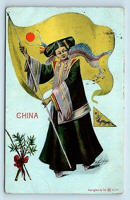 EARLY 1900s CHINA POSTCARD - CHINESE WOMAN WAIVING FLAG - ARTIST SIGNED - B3