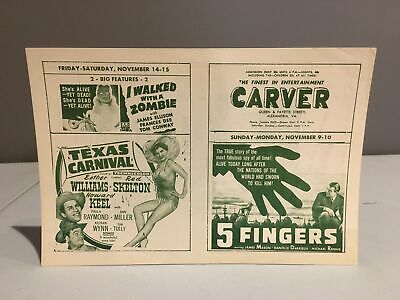 Vintage 1950s CARVER THEATER Handbill Alexandria, VA Segregation Horror Movie #1