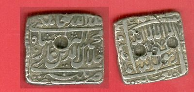 India MUGHAL King AKBAR The Great Square SILVER Rupee  Lot#5638