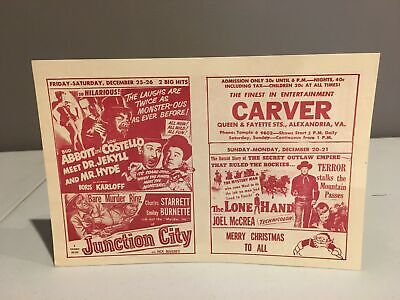 Vintage 1950s CARVER THEATER Handbill Alexandria, VA Segregation Horror Movie #3