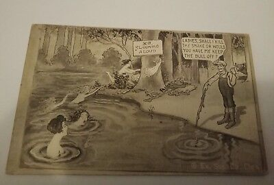 "Antique postcard ""No swimming aloud"" Very old"