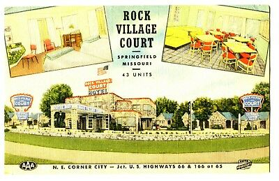 ROCK VILLAGE MOTEL / COURT on ROUTE 66~1955 LINEN ADV PC-(used stamp missing-a b
