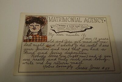 "Antique postcard ""Matrimonial Agency"" Very old"