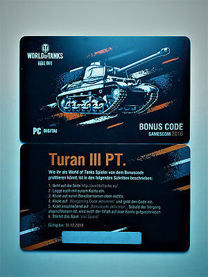 World of Tanks Bonuscode Turan III Pt. WoT Wargaming Code Gamescom