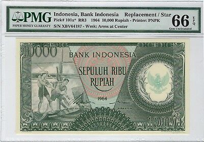 Indonesia, 1964 10,000 Rupiah P-101a* PMG 66 EPQ  ((Scarce replacement))