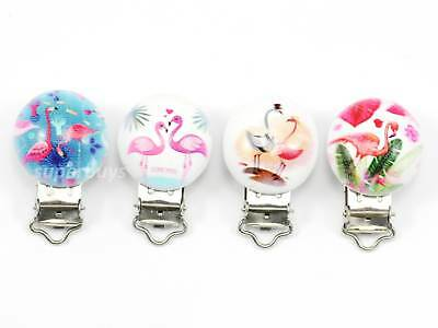 4pcs Assorted Flamingo Suspender Bib Pacifier Dummy Clips Buckle Craft Sewing