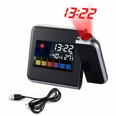 Digital Projection Weather Station Color LCD Snooze Alarm Clock w/ LED Backlight