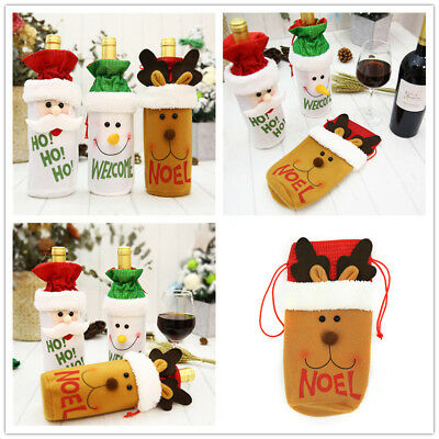 Red Wine Bottle Cover Bags Home Decoration Party Santa Claus Christmas Decor