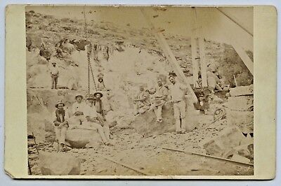 1900 Scarce Cabinet Photograph Sleeps Hill Quarries Workers Belair Sth Aust  P70