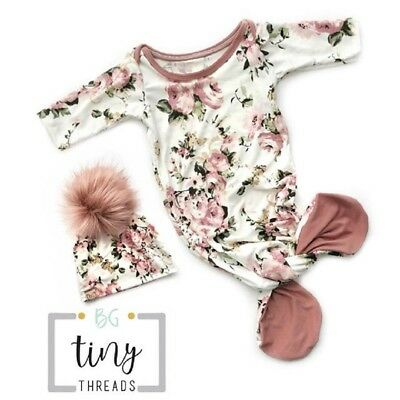 US Newborn Baby Girls Floral Romper Jumpsuit Bodysuit With Feet Hat Outfits Set