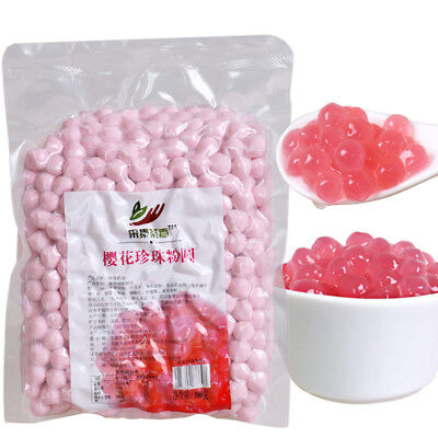 Pink Tapioca Pearl Bubble Tea Drink Boba Milk Coffee Tea Drink 500g Q Bomb 0.8CM