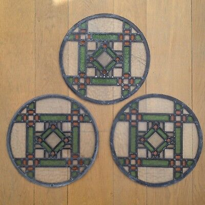 Antique Stained Glass Leaded Windows X 3 Victorian Circular Old Salvage Vintage