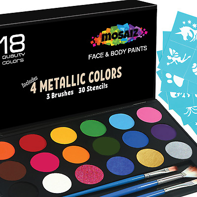 Face Paint Kit Non-Grease 18 Colors Stencils Brushes Metallic Face Body Paints