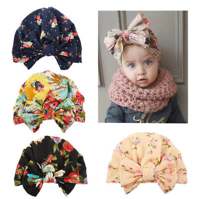 4 PCS/Lot Flower Bonnet Hat Cap with Big Bow For Baby Girl Infant Newborn Hair