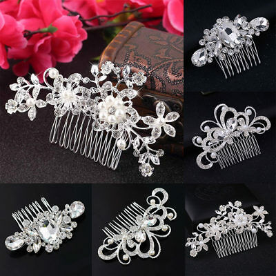 Flower Wedding Hair Pins Comb Bridal Clips Accessories Pearls Slide Grip Crystal