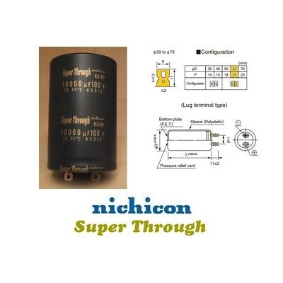 Nichicon KG 10000uF 100V 'Super Through' elettrolitico dxh 60x100