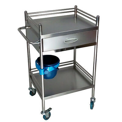 1pc Stainless Steel Portable 2 Layers Serving Medical Dental Lab Cart Trolley YR