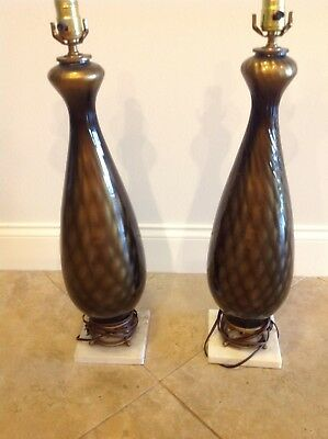 Pair Quilted Iridescent Copper Brown  Italian Murano Glass Table Lamps